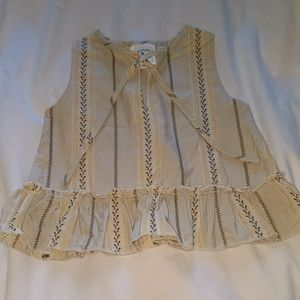 Girls French Sleeveless Top with Front Tie